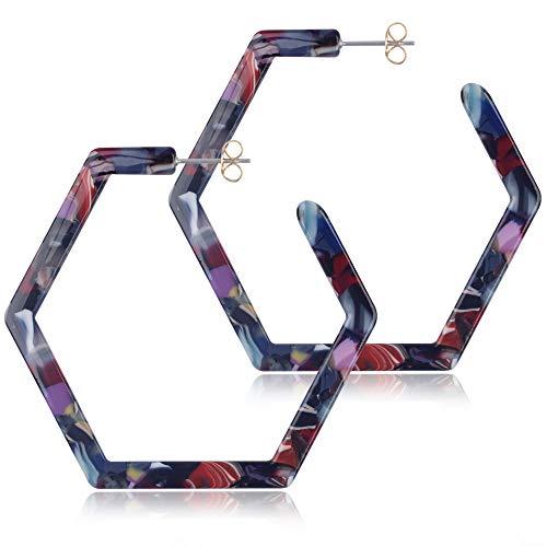 - Acrylic Hoop Earrings for Women Hypoallergenic Geometric Tortoise Shell Acetate Statement Girls Earring