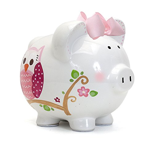 - Child to Cherish Ceramic Piggy Bank for Girls, Pink Dotted Owl