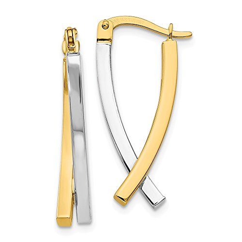 14k Two Tone Yellow Gold Hinged Tube Earrings Drop Dangle Fine Jewelry Gifts For Women For Her