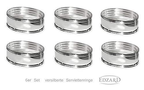 antiossidante Placcato in Argento pregiato Edzard Set da 6 portatovaglioli Anello Faden Lunghezza 6 cm
