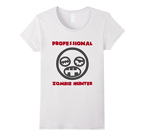 Womens Professional Zombie Hunter Costume Tee Shirt XL White
