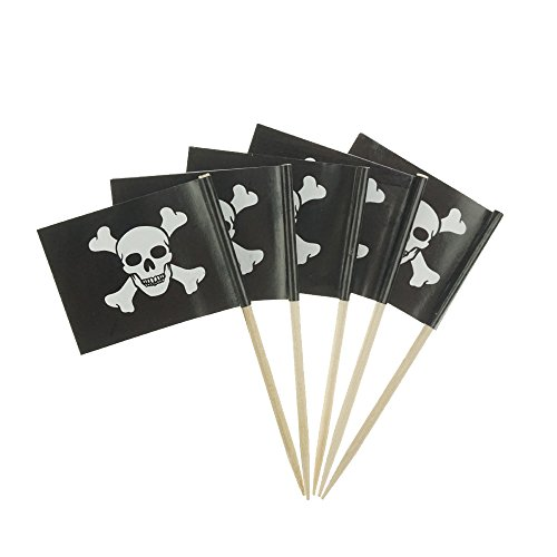 Pirate Flag Themed Skull Cupcake Toppers For Party Decorations Set of About 100 by GOCROWN]()