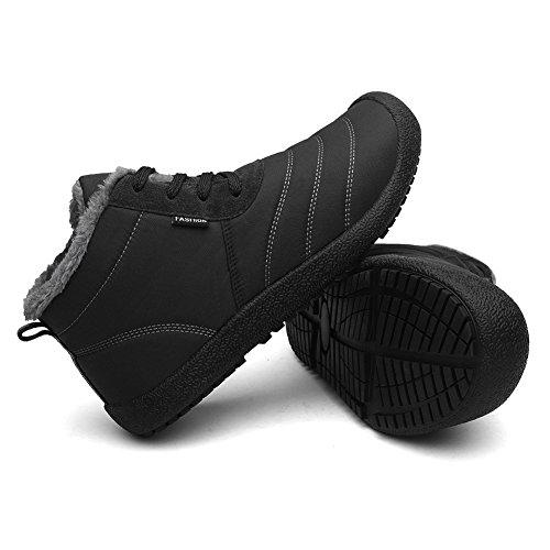 CIOR Herren und Damen Schneeschuhe Fell Gefüttert Winter Outdoor Slip On Schuhe Stiefeletten 3.black/High Top
