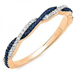 Gold Round Blue Sapphire & White Diamond Ring