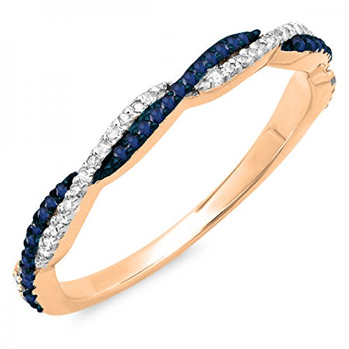 14K Rose Gold Round Blue Sapphire & White Diamond Ladies Wedding Band Swirl Stackable Ring (Size (Round Blue Sapphire Rose)