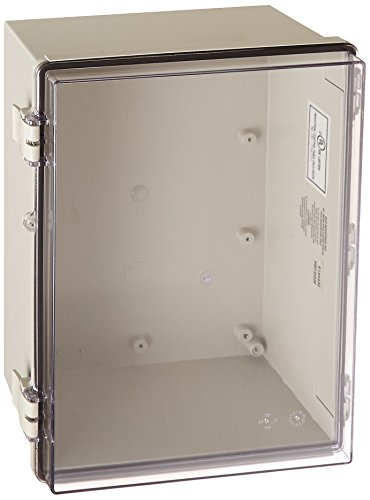 BUD Industries NBF-32226 Plastic Indoor NEMA Economy Box with Clear Door, 15-47/64'' Length x 11-51/64'' Width x 6-9/32'' Height, Light Gray Finish by BUD Industries