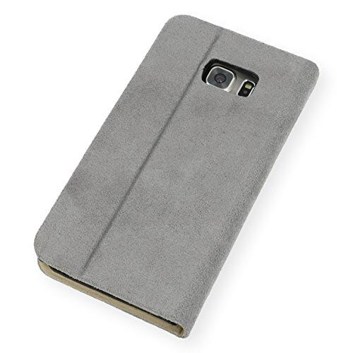 QIOTTI Q. Book Transporteur Premium Étui Livret en cuir véritable pour Samsung Galaxy S6Edge Plus–slim en alcantara Bleu pétrole gris