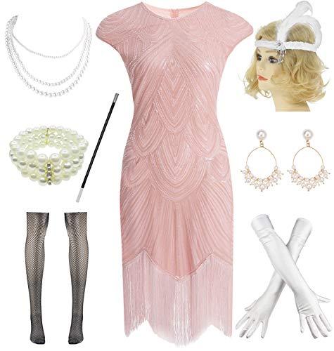 Mardi Gras Beaded Headpiece - 1920s Plus Flapper Gatsby Sequin Scalloped Cocktail Dress w/ 20s Accessories Set (XL, Pink)
