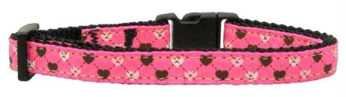 Mirage Pet Products Argyle Hearts Nylon Ribbon Collar for Cat, Bright Pink