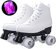 Roller Skate Shoes for Adult, Classic High-top Double-Row Four-Wheel Roller Boots with PU Flashing Wheels, Shi