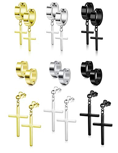 Besteel 6-12 Pairs Stainless Steel CZ Stud Earrings Hoop Earrings Gauge Earrings Set for Men Women piercing earrings
