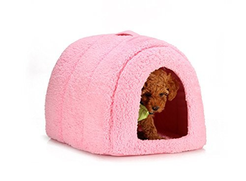 "41AyEmZpeqL - Best Friends by Sheri Pet Igloo in Sherpa, 17""x13""x12"" PINK"