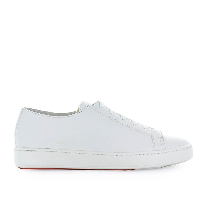 Zapatos de Hombre Zapatilla En Cuero Blanco Santoni Primavera Verano 2018 42.5 EU