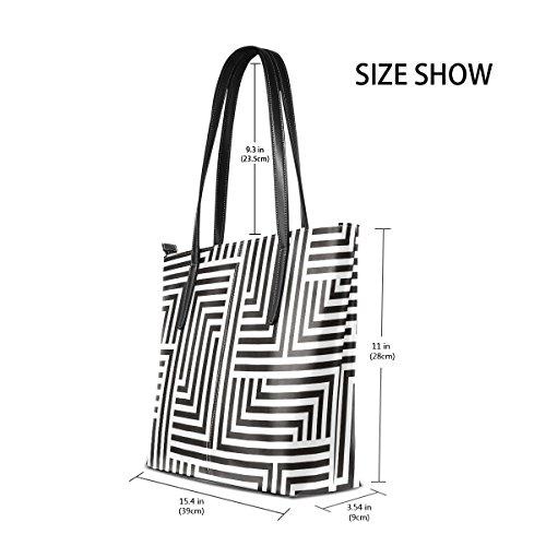 COOSUN Schwarz-Weiß-Zick-Zack-Muster PU-Leder Schultertasche Handtasche und Handtaschen Tasche für Frauen