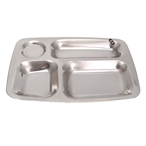 Cicitop Stainless Steel Food Tray Lunch Plates Compartment Plates Divided Dinner Tray (4 Compartments) (Four Tray Compartment)