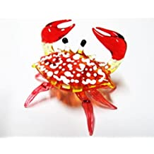 1 X Handcrafted MINIATURE HAND BLOWN GLASS Small Red Crab FIGURINE Collection by ChangThai Design