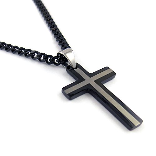 - Yeidid International Mens Black Stainless Steel Cross Pendant, Black 6mm Cuban Curb Chain Necklace 24