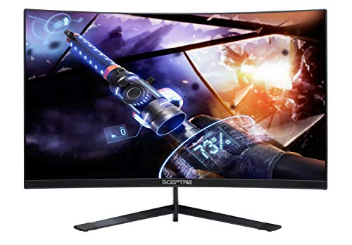 Sceptre Curved 27″ 144Hz Gaming LED Monitor Frameless AMD Freesync Premium DisplayPort HDMI Build-in Speakers, Machine Black 2020 (C275B-144RN)
