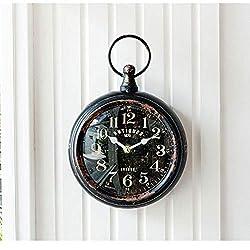 Pocket Watch Design Wall Clock Vintage Steel Non-Ticking Sweep Wall Clock Classic Round Decorations Quartz Alarm Clock Multi-Color (Color : Black)