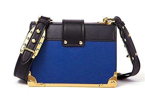 XinMaoYuan pequeña bolsa de hombro bolsa cuadrado Retro Hit Messenger bolsos de cuero de color Azul con negro