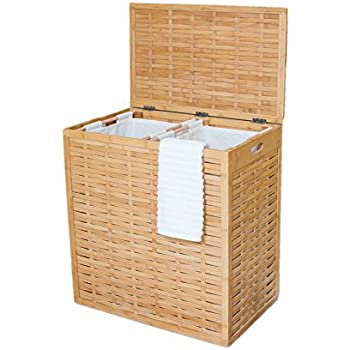 Seville classics water hyacinth oval double hamper hand woven home kitchen - Divided clothes hamper ...