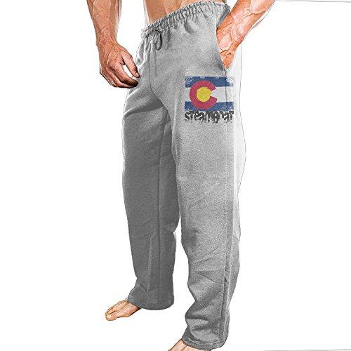 Flag Front Ash Grey T-shirt (Grhoodie1 Steamboat Colorado Flag Men's Workout Pants Ash Size L)