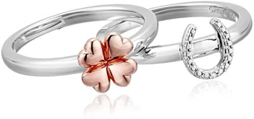 Sterling Silver with Pink Gold Plating Diamond Flower Ring, Size 7