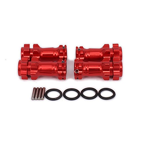 1/8 Wheel Hex Hub Extended Drive Adapter Upgrade Aluminum Alloy 17mm Off-Road Car for HSP 94087 HOBAO MT/ 8SC / H9 / T8E / EMTA (Red,Set of 4)
