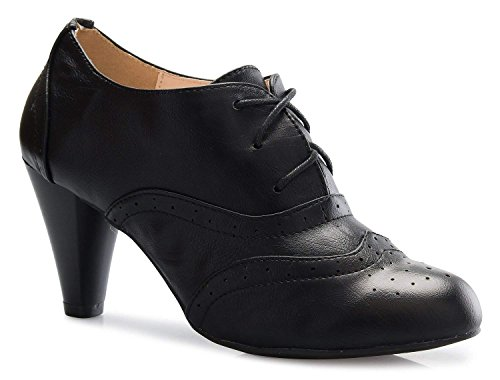 Women's Oxford Shoes Classic Fashion Chunky Heel Bootie Mid-Heel Lace up Ankle Boots Mary Jane Pumps Black (Oxford Lace Up Pump Shoes)