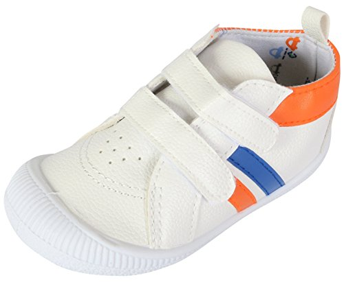 Gerber Baby Boys Early Walker Double Strap Sneakers, White, 5 M US (Double Strap Sneakers)