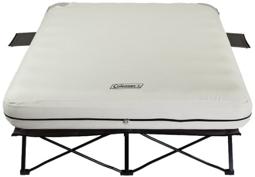 Coleman Queen Airbed Folding Cot with Side Tables and 4D Battery Pump Sleep Framed