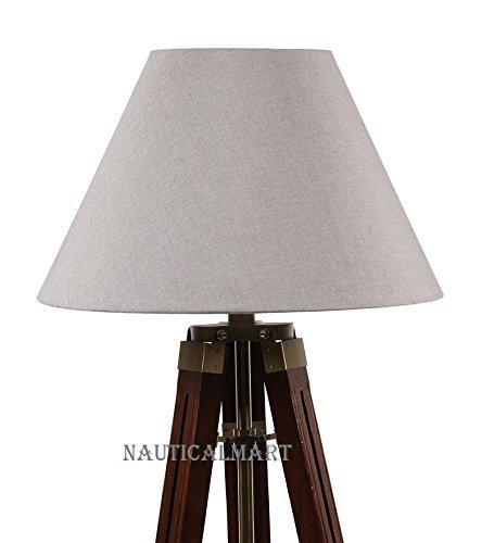 Floor Standing Brown Wooden Tripod Floor Lamp For Living Room By Nauticalmart by NAUTICALMART