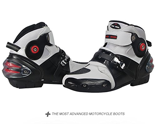 Yiwa BOOTS Motorcycle,Biker Speed Motocross Boots,Non-slip Motorcycle Shoes,Men Soft Waterproof white 9.5