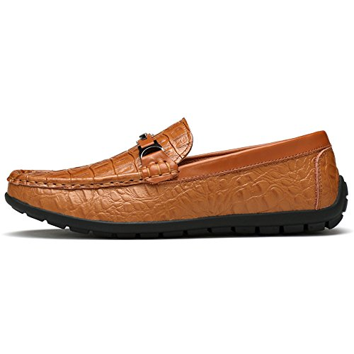 Ofgcfbvxd Fitting tacco per alla di EU Dimensione pelle On Color coccodrillo TextureLoafer Slip casual piatto con Wider 44 Leggero Marrone Mocassini Scarpe uomo resistenti Marrone aqrfawX
