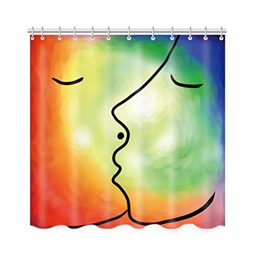 Artown Watercolor Bathroom Shower Curtain, Romantic Lovers Kiss Vintage Style Colourful Charming Streamlined Artsy Effect Print, Waterproof Polyester Home Decor Set with 12 Rings, 72 x 72 Inches Long]()