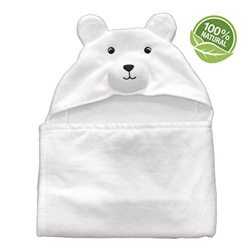 Baby Hooded Towel | White Polar Bear | Extra Soft Cotton | Infant, Toddler, and Newborn | Great Gift Idea for Both Boys and Girls