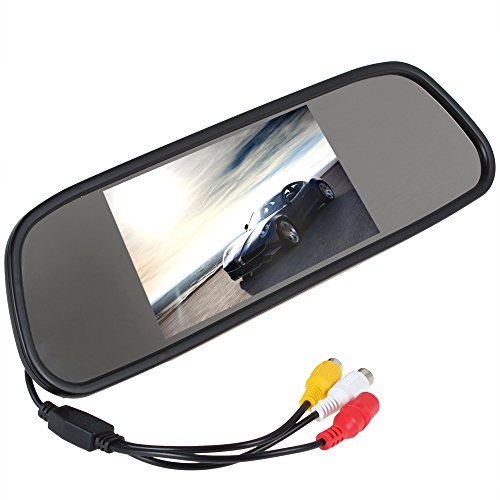 ePathChina 5 Inch Color TFT LCD Screen Car Rear View Mirror Monitor with HD 480 x 272 + 2 Channels Video Input + TV System PAL/ NTSC