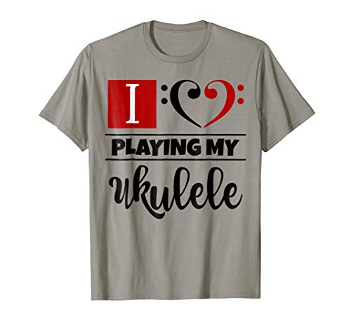 Double Black Red Bass Clef Heart I Love Playing My Ukulele T-Shirt