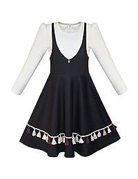 Sunny Fashion Girls Dress 2-in-1 School Long Sleeve Black Tassel Size 4-12