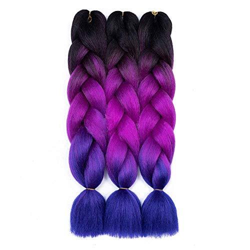 Kanekalon Braiding Extensions Synthetic Black Purple Blue product image