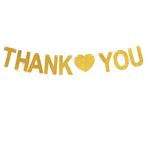 GZFY Gold Glittery THANK YOU Banner Thanksgiving Sign Wedding Bunting Banner home Decorations Garland photo Booth -