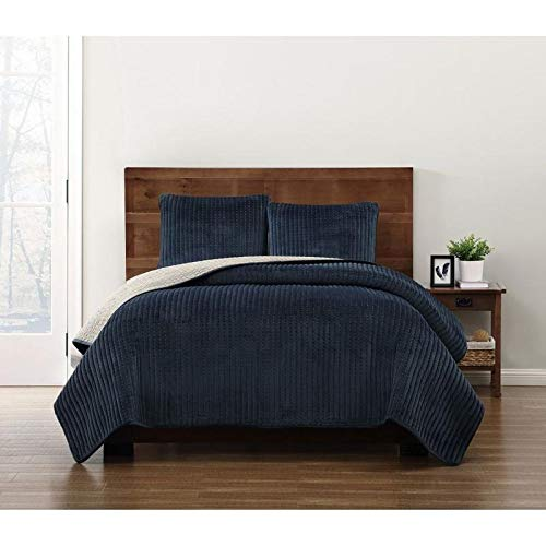 HNU 2 Piece Modern Crystal Face Pick Stitch Velvet Quilt Set Designer Style Solid Color Pattern Plush Navy Twin Bedding Set Outstanding Warmth Fashionable Bedroom Decor Amazingly Soft Pleated Finish
