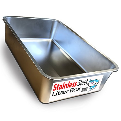 Ultimate Stainless Steel Cat XL Litter Box - Never Absorbs Odor, Stains, or Rusts - No Residue Build Up - Easy Cleaning Litterbox designed by Cat Owners - by iPrimio (1 Pan)