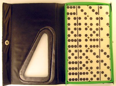Double Six Standard Dominoes Set of 28-Green Case with White Tiles
