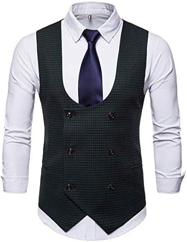 TEBAISE Herren Weste Anzug Slim Fit Modern Smoking Sakko Herrenweste Elegant Tweed Anzug Premium Weste