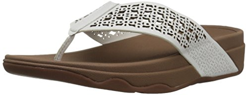 FitFlop Women's Leather Lattice Surfa Floral FLIP Flops, Urban White, 8 M US