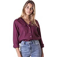 232f730b CAMIXA Women's Linen Button-Down Two Pockets Shirt Go Casual Chic