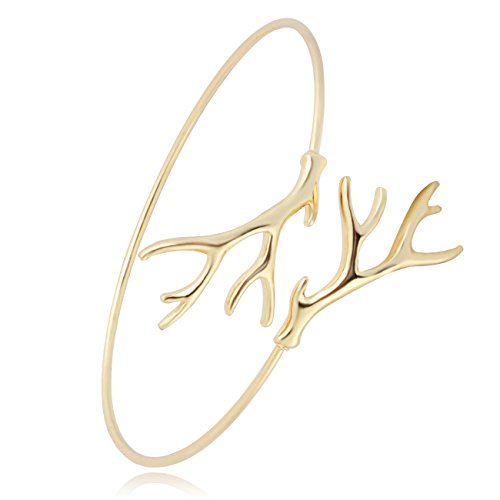 Gold Branch Tree (BEICHUANG Science Antler Neuron Tree Branch Nerve Cell Open Wire Cuff Bangle Bracelet (gold))