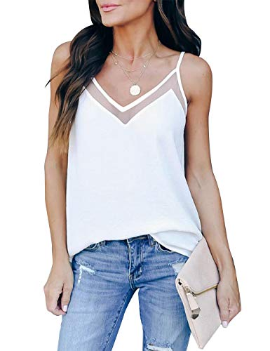 GOORY Women's V Neck Tank Tops Casual Spaghetti Strap Cami Summer Sexy Sleeveless Shirts