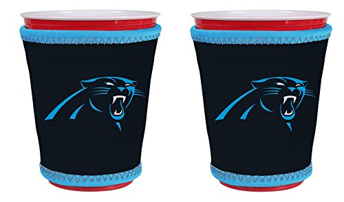 (NFL Football Team Logo New Drink Glass Cup Insulated Kup Holder 2-Pack (Carolina Panthers))